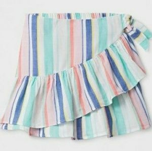 Girls Lined Rainbow Striped Skirtw/Ruffle